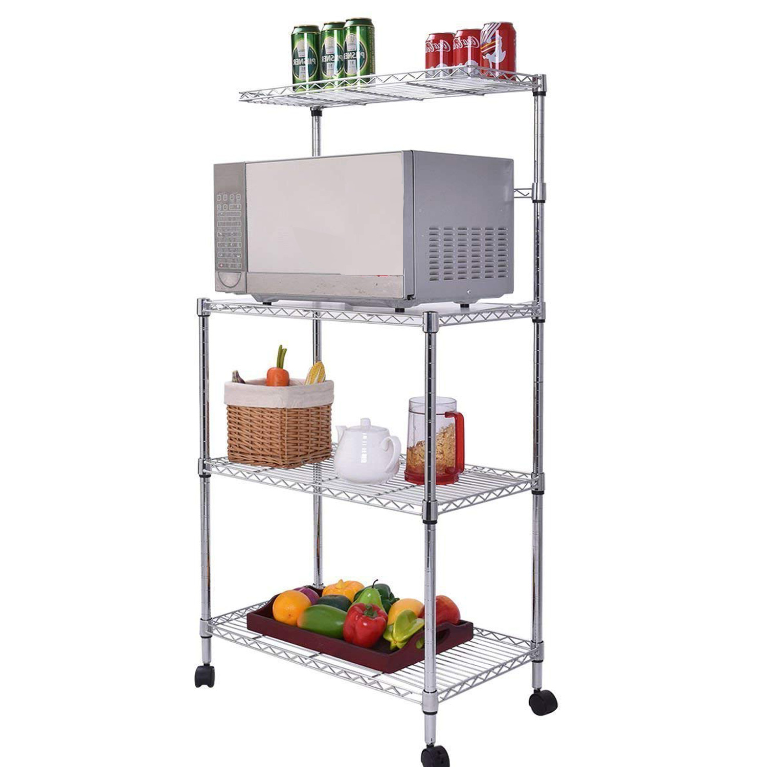 Zlolia Kitchen Baker/'s Rack Microwave Stand with Basket for Spice Rack Organizer Utility Shelf Cart Workstation Oven Stand Space Saving Bakers Stand Large Kitchen Island Organizer