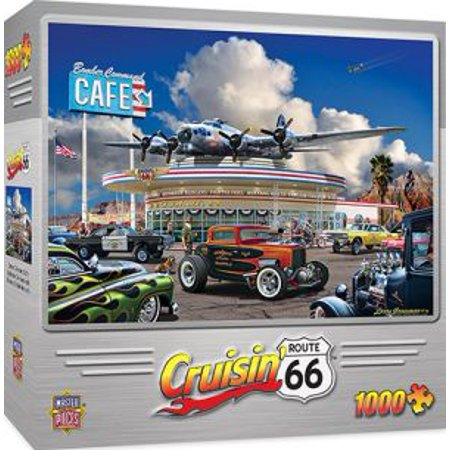 Masterpieces Cruisin Route 66 Bomber Command Caf    Muscle Cars 1000 Piece Jigsaw Puzzle By Larry Grossman