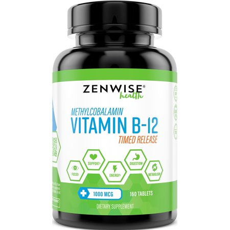 Vitamin B12-1000 MCG Supplement - Natural Energy Booster - Benefits Heart, Digestive and Brain Function - 160 Count Timed Release (Lipo Cuts Time Release Metabolism Booster Reviews)