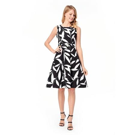 Dress For Women Fashion Leaf Print Pleated Sleeveless A-Line Midi Dress Evening Dress With - Tinkerbell Leaf Dress