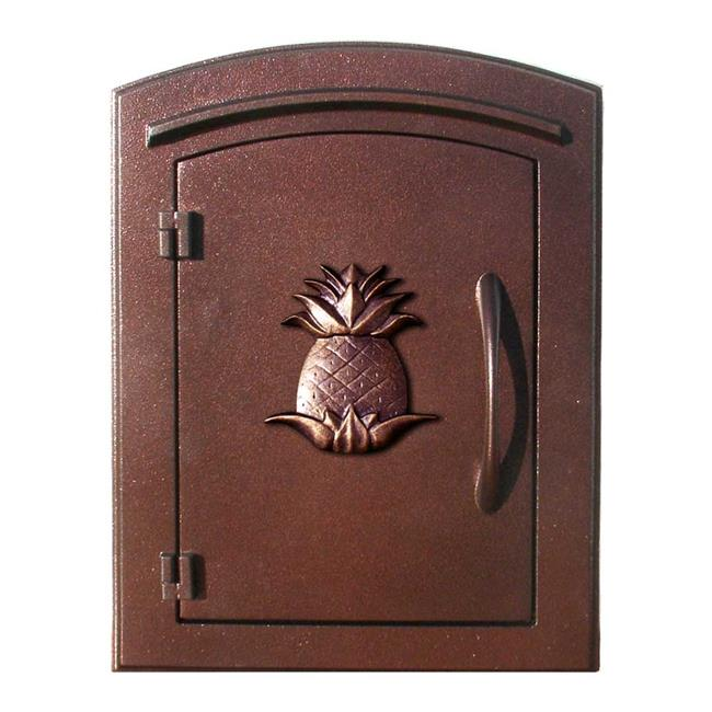 QualArc MAN-1405-AC 14 in. Manchester Non-Locking Column Mount Mailbox with Decorative Pineapple Logo in Antique Copper
