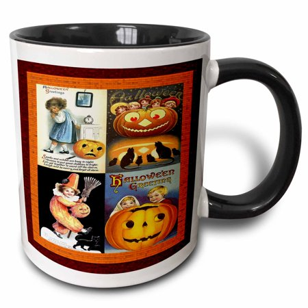 3dRose Children of Halloween Collage - Two Tone Black Mug, 11-ounce