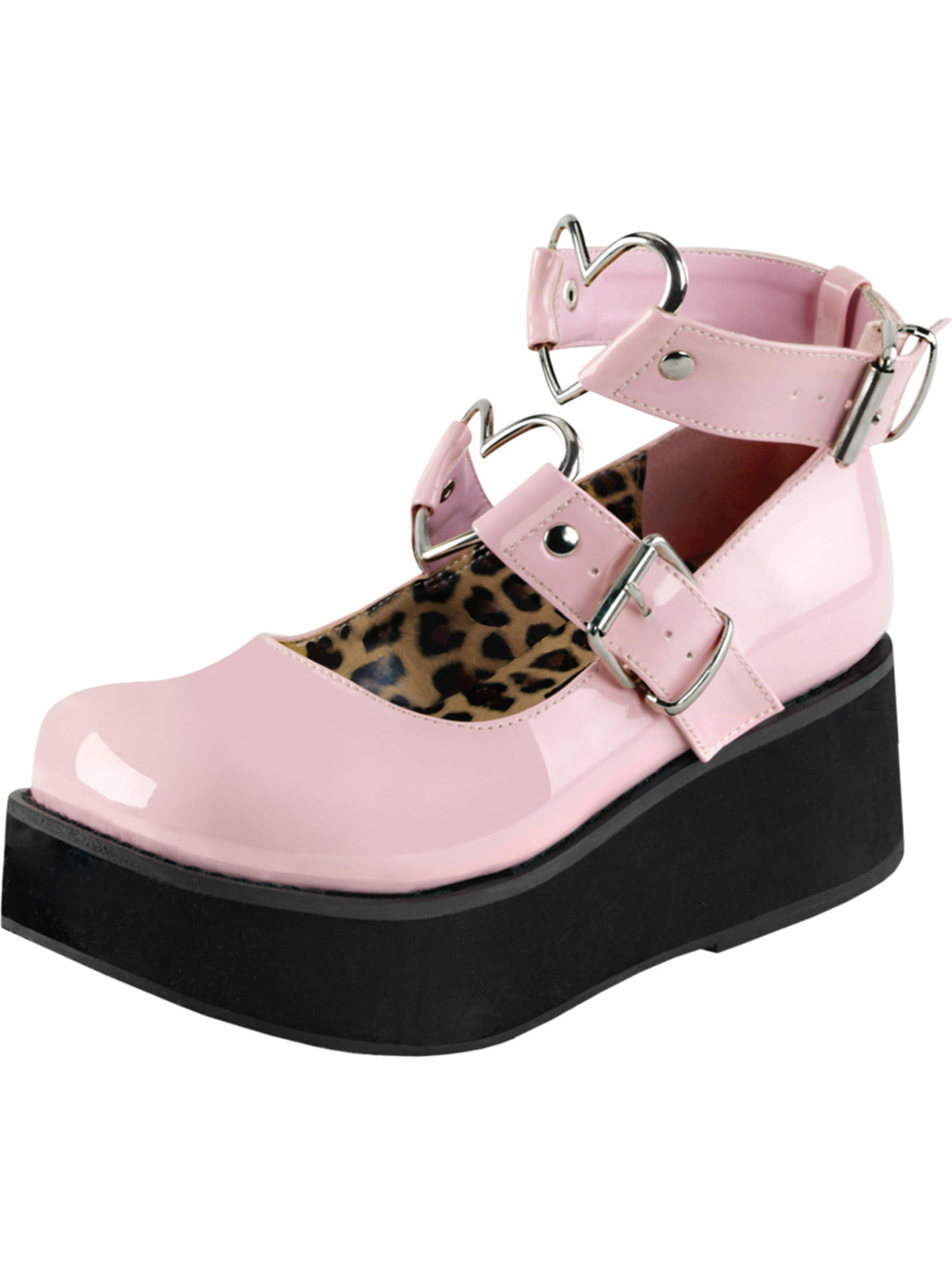 Womens Platform Shoes Mary Janes Baby Pink Shoes Platform Hearts Studs 2 1/4 Inch Platform 6ba37d