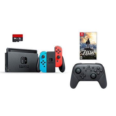 Nintendo Swtich 4 Items Bundle Nintendo Switch 32Gb Console Neon Red And Blue Joy Con 64Gb Micro Sd Memory Card And An Extra Nintendo Switch Pro Wireless Controller The Legend Of Zelda
