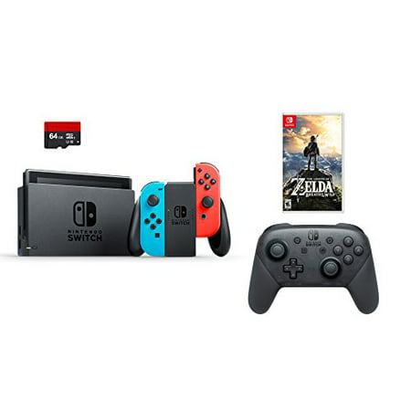 Nintendo Swtich 4 items Bundle:Nintendo Switch 32GB Console Neon Red and Blue Joy-con,64GB Micro SD Memory Card and an Extra Nintendo Switch Pro Wireless Controller,The Legend of (Micro Parent Console)