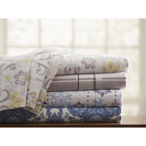 Pointe Haven 200 GSM (6 oz) Print Flannel Sheet Set 200 GSM (6 oz) Cal King Flannel Sheet Set