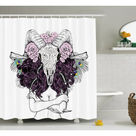 Ambesonne Skull Tribal Horned Goat Head And Peacock Feather Mystic Voodoo Pattern Shower Curtain Set