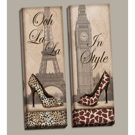2 Travel in Style Animal Print Fashion High Heel Pumps Paris London, Two 8x20 Hand-Stretched Canvas. Beige
