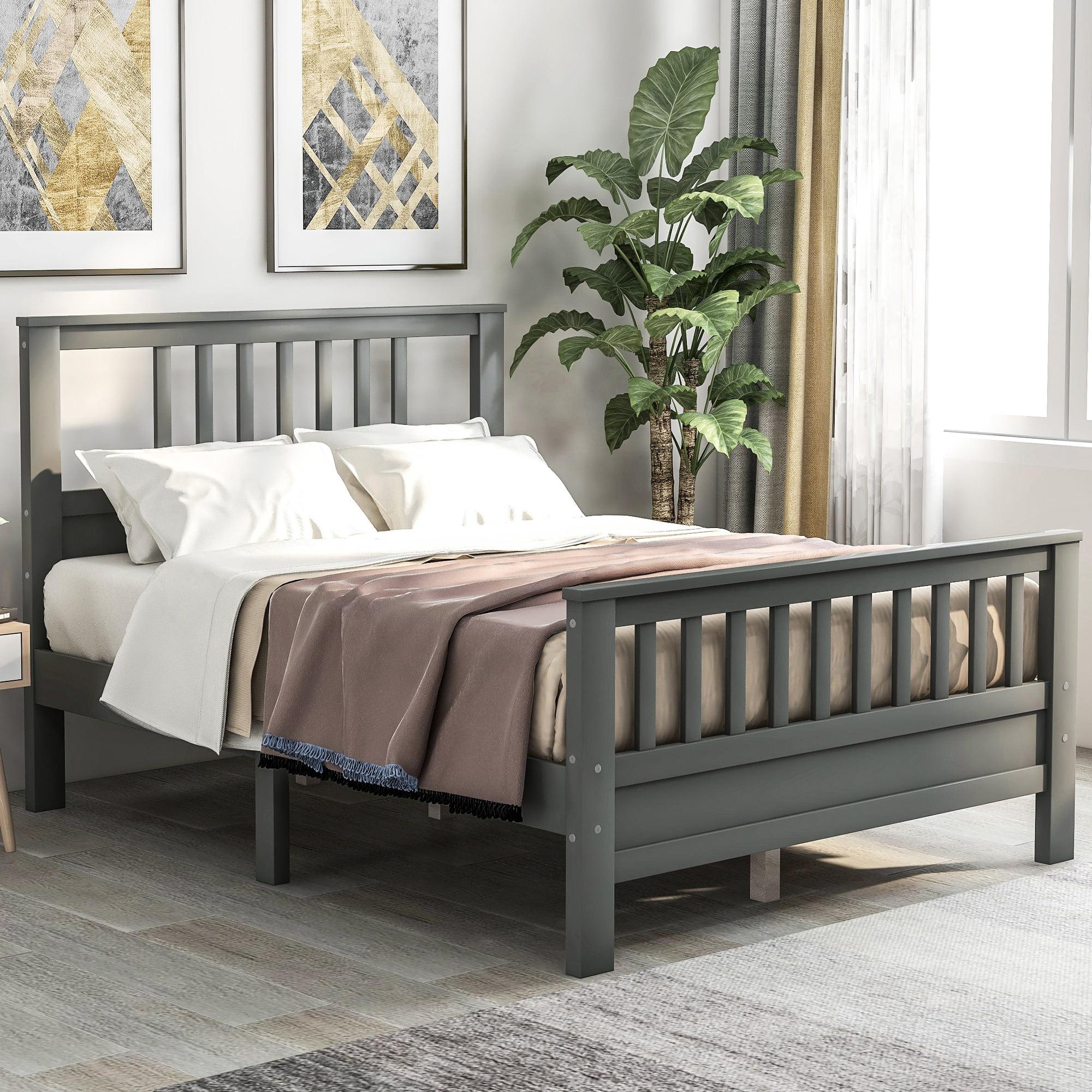Clearance! Full Bed Frame, Gray Full Platform Bed Frame ...