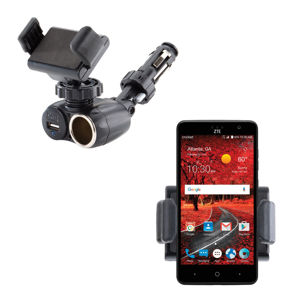 Dual USB / 12V Charger Car Cigarette Lighter Mount and Ultra Compact Holder for the ZTE Grand X 4