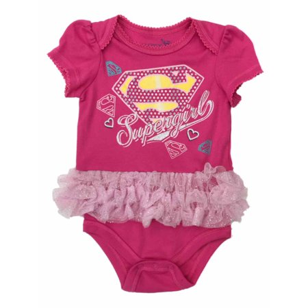 Infant Girls Baby Outfit Pink Supergirl Ruffle Super Hero Bodysuit Creeper