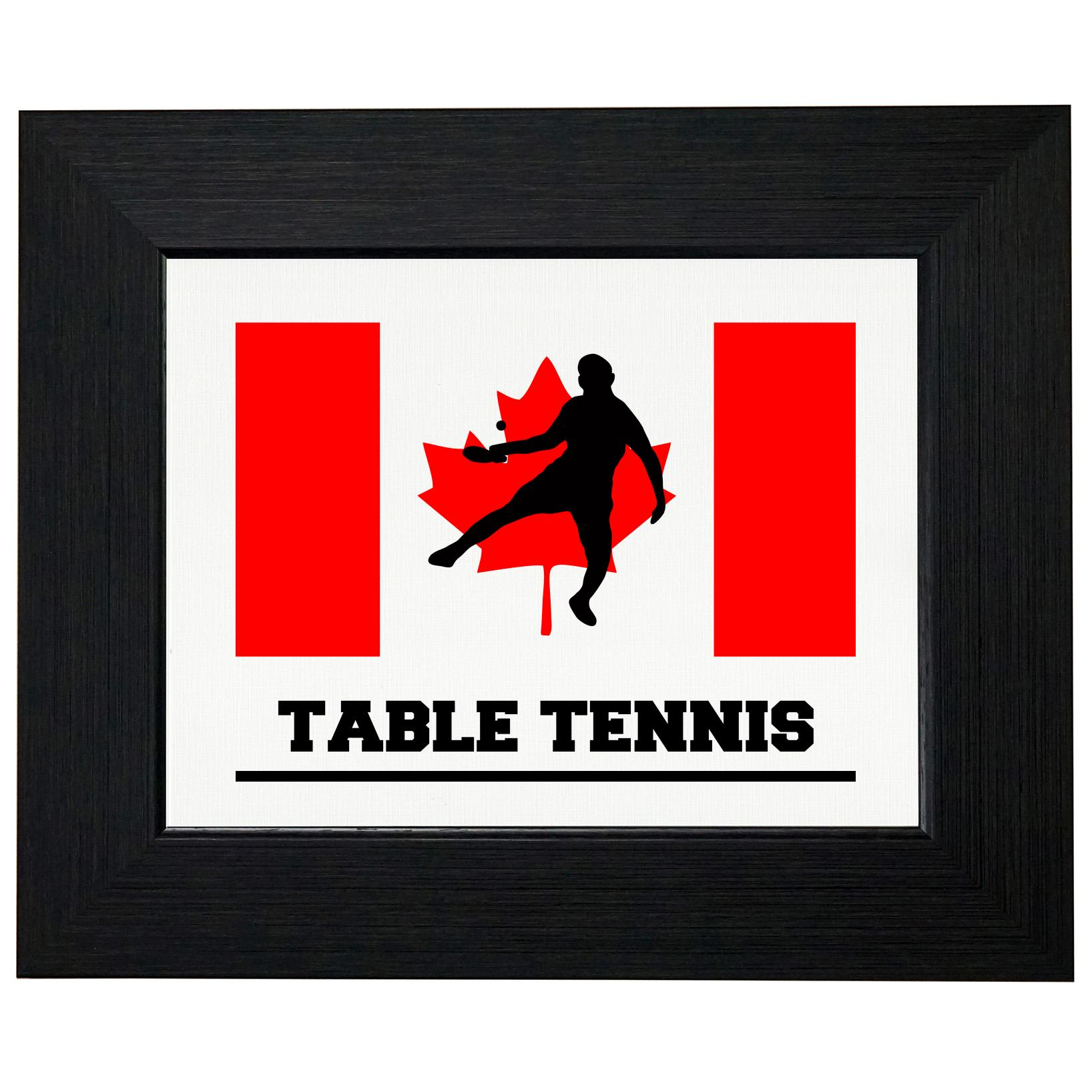 Canada Olympic Ping Pong Flag Silhouette Framed Print Poster Wall or Desk Mount Options by Royal Prints