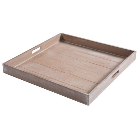 19-Inch Large Shabby Chic Square Wood Serving Tray for Breakfast in Bed, Tea, Coffee (Brown Round Serving Tray)