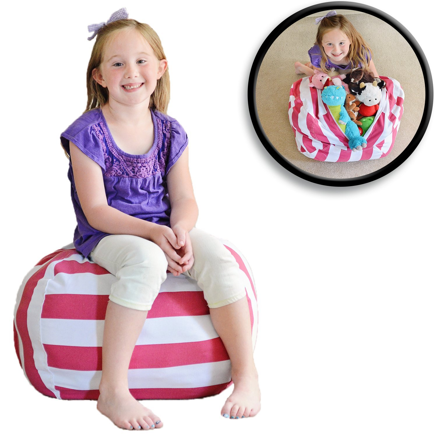 "Stuffed Animal Storage Bean Bag Chair - Red/White Striped - Clean up the Room and Put Those Critters to Work for You! - By Creative QT (30"", Pink Stripe)"