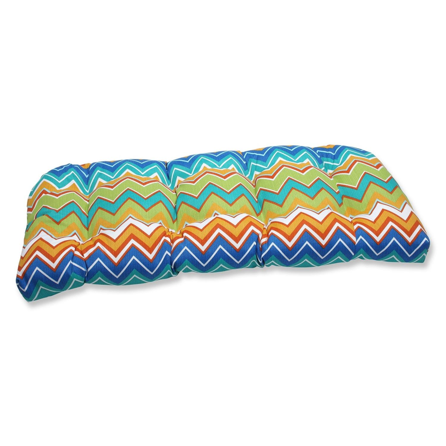 "44"" Chevron Surtido Blue and Orange Outdoor Patio Tufted Wicker Loveseat Cushion"