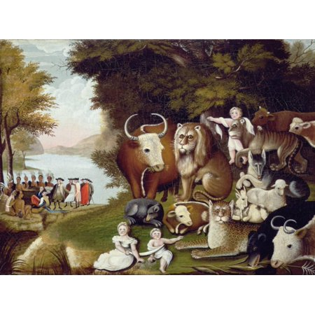 The Peaceable Kingdom American Folk Art Bible Christian Animal Painting Print Wall Art By Edward (American Chestnut Folk Art)