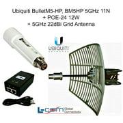 Ubiquiti BulletM5-HP, BM5HP 5GHz 11N +POE-24 12W + 5GHz 22dBi Grid WiFi Antenna
