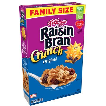 Kellogg's Raisin Bran Crunch Breakfast Cereal, Original, Family Size, 24.8 Oz
