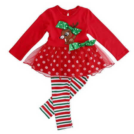 2PCS Baby Kid Girls Christmas Outfits Long Sleeve Reindeer Tutu Dress With Stripes Pant Clothing Set 3-4 Year