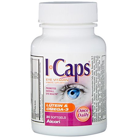 2 Pk Icaps Lutein and Omega-3 Eye Vitamin and Mineral Supplement, 30 Softgels