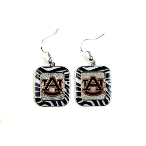 Auburn Tigers NCAA Zebra Style Dangle Earrings