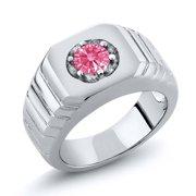 0.46 Ct Fancy Pink 18K White Gold Ring Made With Swarovski Zirconia