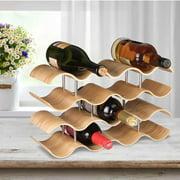 3/4 Tier Wood Wave Wine Rack Holder Household Wine Bottle Rack Creative Storage Rack Display Stand Countertop Kitchen Cabinet - 14 Bottle