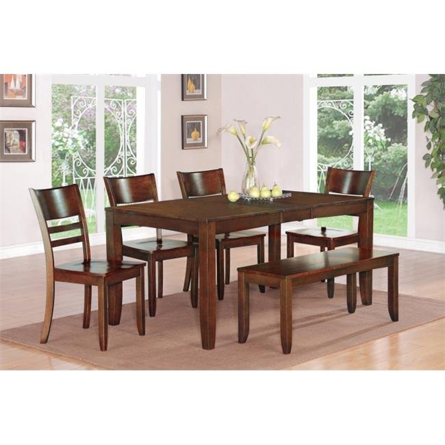 East West Furniture LYFD6-ESP-W 6-Piece Lynfield Rectangular Dining Table with Butterfly Leaf & 4 Wood Seat Chairs & 1 Bench in Espresso Finish