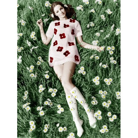 Tiffany Inspired Daisy (Young Model Biddy Lampard in the Grass Wearing a Short Dress (With Daisies) Inspired by Courreges Print Wall)