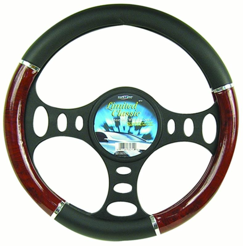 Custom Accessories 35710 Wood Grain And Chrome Trim Steering Wheel Cover