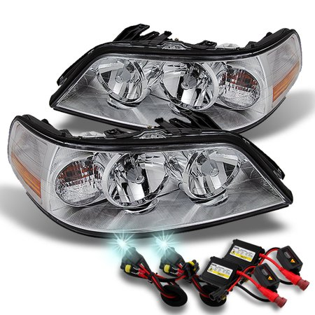Fit 05-11 Town Car Clear Halogen Type Headlights +  8000k White Blue