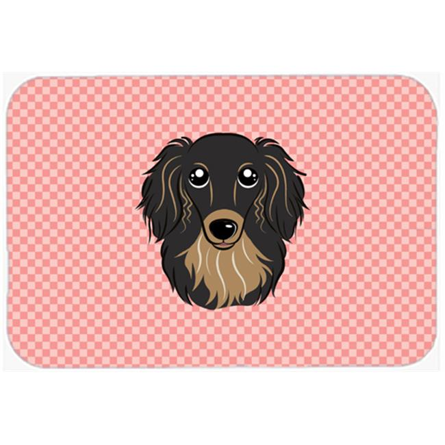 Carolines Treasures BB1213MP Checkerboard Pink Longhair Black And Tan Dachshund Mouse Pad, Hot Pad Or Trivet, 7.75 x 9.25 In. - image 1 of 1
