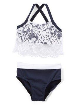 Elliewear Girls Navy White Lace Overlay Top Brief 2 Pc Dance Set