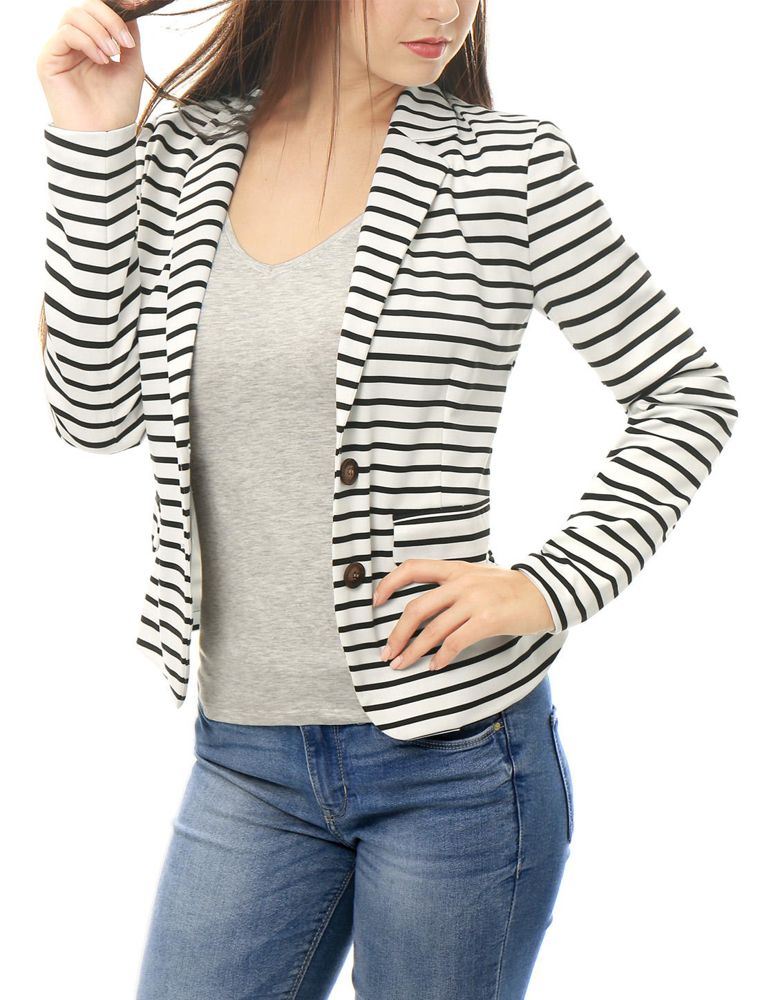 Unique Bargains Women's Notched Lapel Button Closure Striped Blazer White L