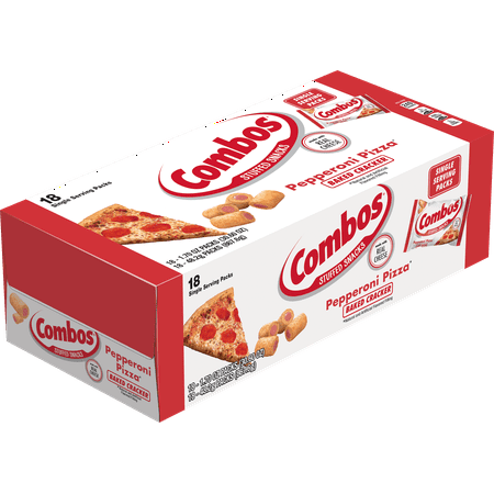 COMBOS Pepperoni Pizza Cracker Baked Snacks, 1.8 Ounce Bags, 18 Count Box (Stall Snack)