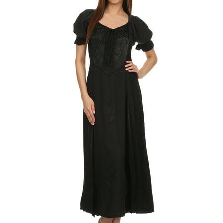 Sakkas Bridget Embroidered Renaissance Dress - Black - L/XL - Cheap Renaissance Dress