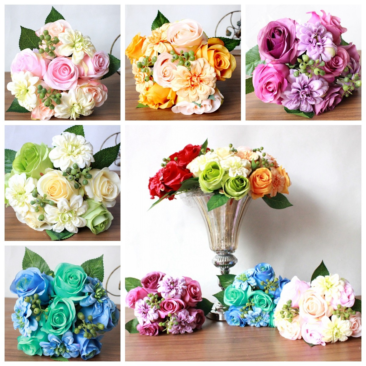1 Bouquet 9 Heads Artificial Silk Roses Flowers Bouquet Home Wedding decoration Bridal Party Decor