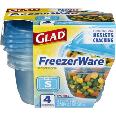 Glad Food Storage Containers - Glad FreezerWare Container - Small - 24 oz - 4 Containers