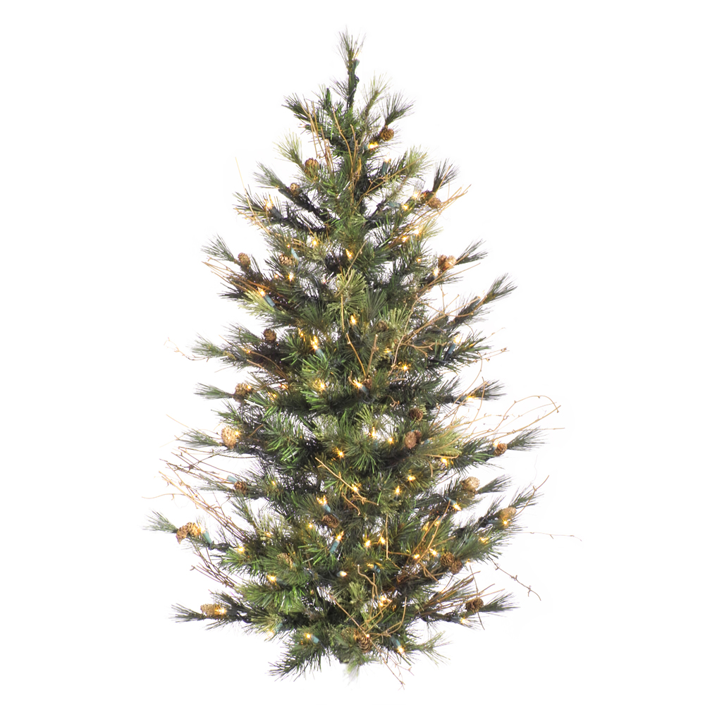 3' Pre-Lit Mixed Country Pine Artificial Wall or Door Christmas Tree - Clear