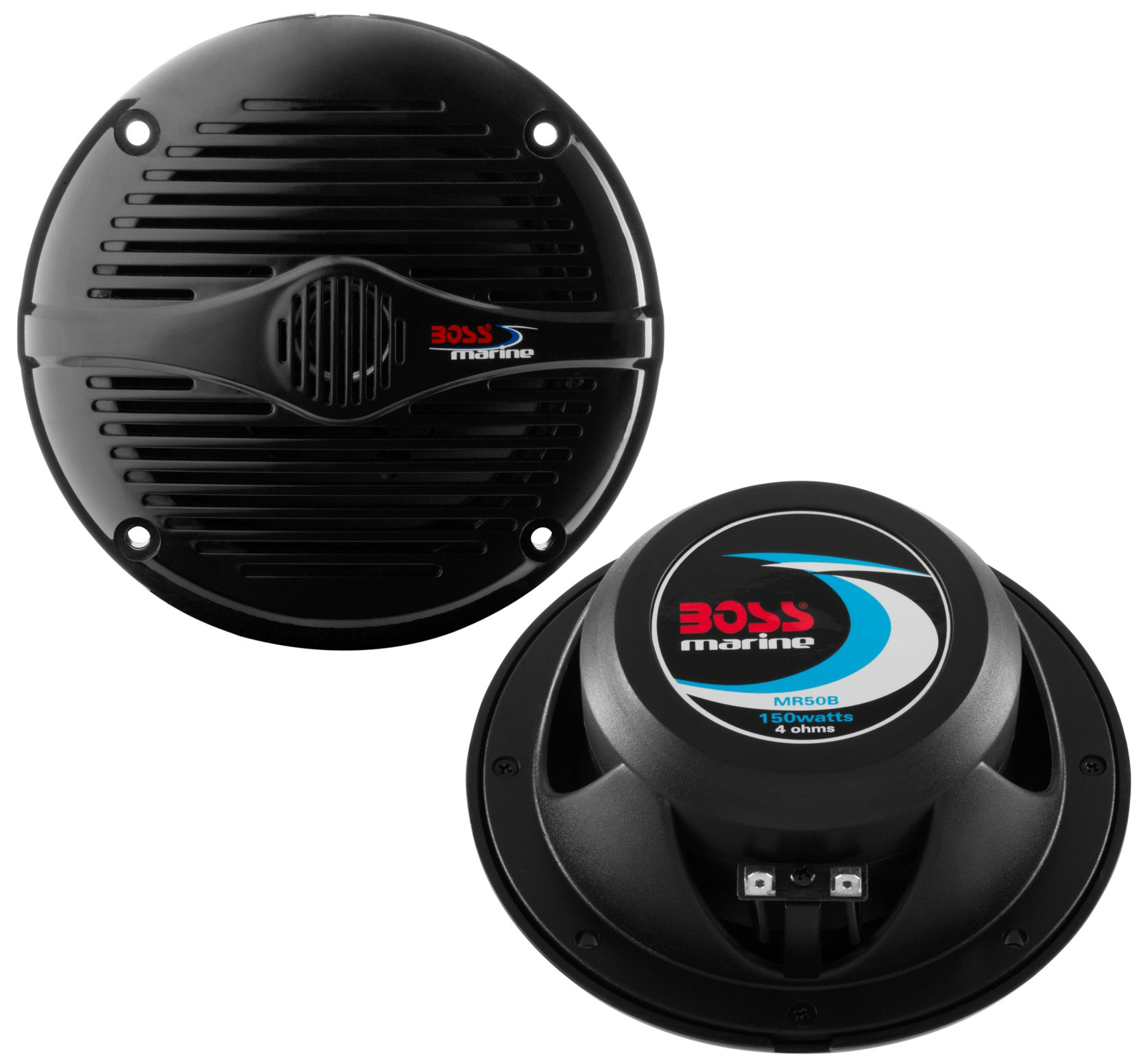"NEW BOSS MR50B 5.25"" 2-Way 150W Marine/Boat Car Coaxial Audio Speakers Black"