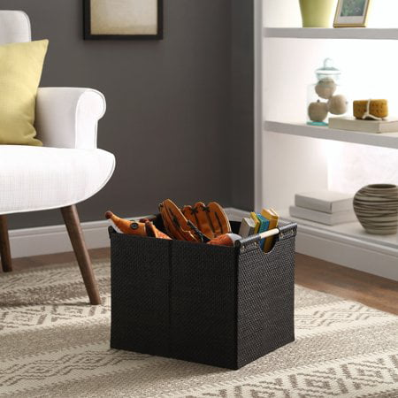 Better Homes & Gardens Black Weave Storage Bin with Wood Handle's
