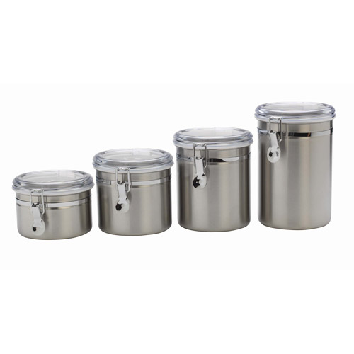 Anchor Hocking 4 Piece Stainless Steel Canister Set With Clear Lid