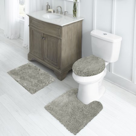 "Better Homes & Gardens Nylon Thick And Plush 3-Piece Bath Rug Set with 17"" x 24"" Rug, Soft Silver"