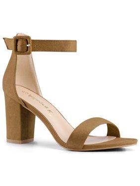 Unique Bargains Women's Open Toe Block Heel Ankle Strap Sandals
