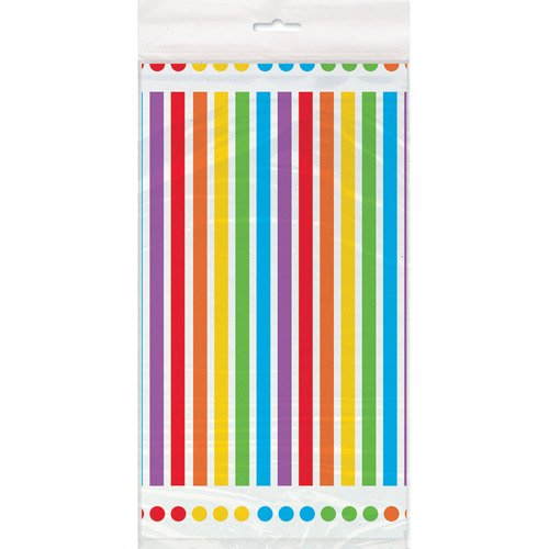Rainbow Plastic Party Tablecloth, 84 x 54in