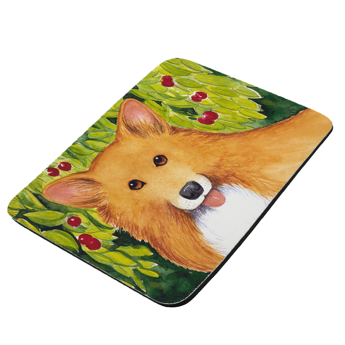 Welsh Corgi with Cherries Art by Denise Every - KuzmarK Mousepad / Hot Pad / Trivet