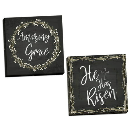 Gango Home Decor Vertical Amazing Grace, & He Is Risen by ND Art (Ready to Hang); Two 16x16in Hand-Stretched Canvases](Grease Decor)