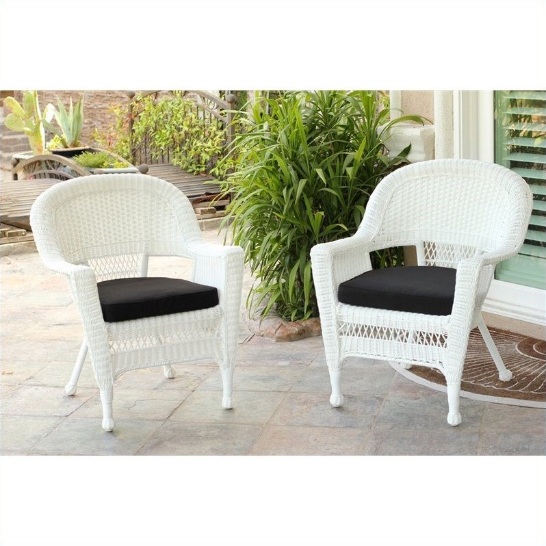 Jeco Wicker Chair in White with Black Cushion (Set of 4)