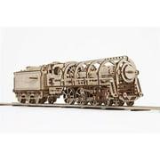 UGears UTG0011 460 Locomotive with Tender Mechanical Wooden 3D Model Kit