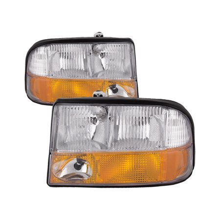 1998-2004 GMC Sonoma-Oldsmobile Bravada/ 1998-2001 GMC Jimmy Headlight Halogen w/ Fog Headlamp Pair Assembly GM2502173 & GM2503173 ()